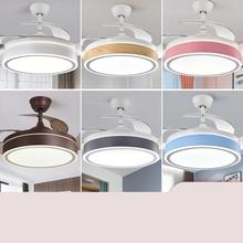 隐形风ja灯餐厅客厅mi代简约吊扇灯北欧静音一体家用吊扇灯