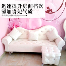 简约欧ja布艺沙发卧mi沙发店铺单的三的(小)户型贵妃椅