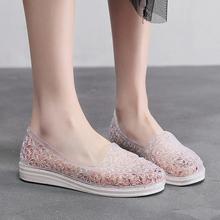 夏季新ja水晶洞洞鞋mi滩休闲平跟平底软底防滑包头套脚凉鞋