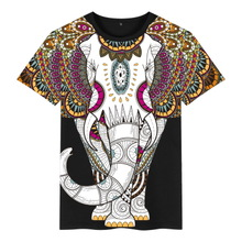 中国风ja装短袖T恤mi族风麒麟泰国大象图案潮牌大码印花衣服