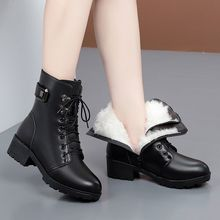 G2【ja质软皮】雪mi粗跟加绒马丁靴女防滑短靴女皮靴女
