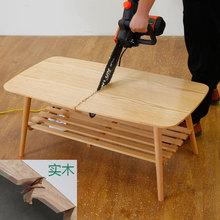 橡胶木ja木日式茶几on代创意茶桌(小)户型北欧客厅简易矮餐桌子