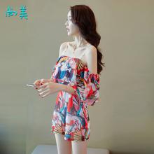 短裤女2ja120夏季on一字肩吊带雪纺印花气质修身显瘦连体裤