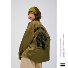 """隐于市ja9ss潮牌la文化高克重面料""""下山虎""""刺绣外套衬衫男女"""