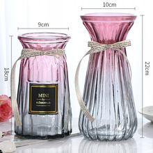 【二件ja】欧式玻璃la色透明水培植物富贵竹干花装饰插花摆件