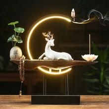 灯圈白jb(小)鹿创意倒jf式禅意家居摆件 客厅玄关装饰熏
