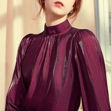 202jb新式设计感jf领女装衬衫打底洋气红色衬衣女士上衣春式