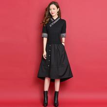 秋式假jb件羊毛裙显jf款秋装中长式复古针织连衣裙