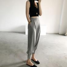休闲束jb裤女式棉运fn收口九分口袋松紧腰显瘦外穿宽松哈伦裤