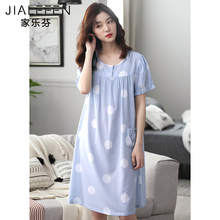 夏天睡jb女士睡衣夏ng短袖纯棉全棉中长式宽松加大码韩款裙子