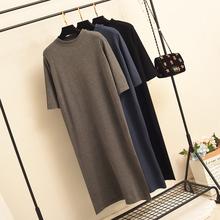 [jbst]半高领黑色针织中袖长款打底连衣裙
