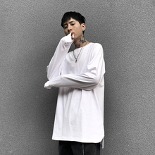高街宽jb叠穿内搭加vx开叉白色打底衫长袖T恤秋冬打底衣男潮