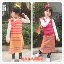 宝宝金jb傣 飘带披er传统泰国民族服装 傣族女童装 泼水节服装