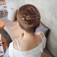 韩式简jc复古发簪优bn现代簪子发簪马尾扣发夹头饰发饰