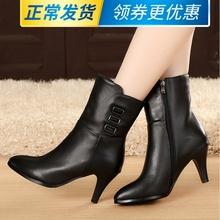 秋冬季jc鞋高跟鞋中ll真皮靴子中靴牛皮女靴骑士靴单靴春季