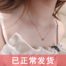 925jc银(小)蛮腰项ll8k玫瑰金颈链韩(小)众彩银锁骨链潮网红不掉色