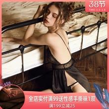 59元jc价 夏季性ef女开叉情趣(小)胸吊带睡裙超短裙冰丝睡套装