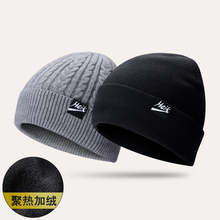 帽子男jc毛线帽女加cj针织潮韩款户外棉帽护耳冬天骑车套头帽