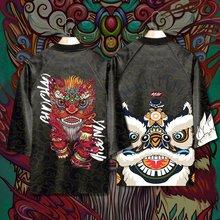 醒狮秋jc季加厚道袍qq潮男装七分袖和服羽织浮世绘男外套