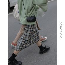 dorjcstudiqq格子半身裙中长直筒复古2020早秋新式开叉格纹包臀