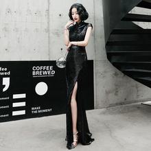 黑色高jd气质宴会名yc服女2021新式高贵优雅主持的长式鱼尾裙