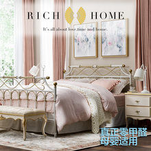 RICjd HOMEyc双的床美式乡村北欧环保无甲醛1.8米1.5米