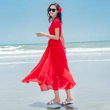 夏季雪jd连衣裙海边yc裙海南三亚中年妈妈减龄红色短袖沙滩裙