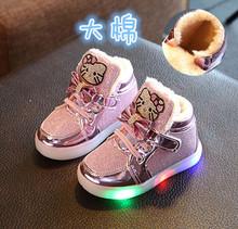 202jd冬季新式(小)yc靴1-2-3-4岁5女宝宝棉鞋婴宝宝亮灯公主皮鞋