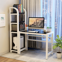 电脑台jd桌 家用 sc约 书桌书架组合 钢化玻璃学生电脑书桌子