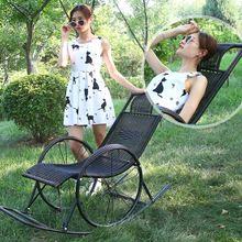 户外加je固定房间摇fe大的藤编竹编加厚海边加长折叠椅沙发椅