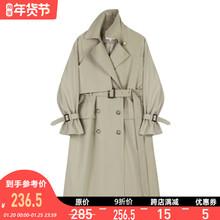 【9折jeVEGA jtNG风衣女中长式收腰显瘦双排扣垂感气质外套春