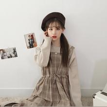 春装新je韩款学生百jt显瘦背带格子连衣裙女a型中长式背心裙