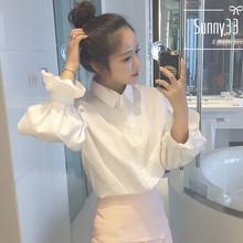 春装女je韩款学院风jt泡袖白色衬衫学生宽松百搭长袖衬衣上衣