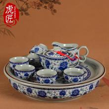 虎匠景je镇陶瓷茶具zy用客厅整套中式复古青花瓷功夫茶具茶盘