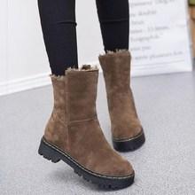 加绒雪je靴棉靴子女si短筒黑色加厚鞋绒面平底靴中学生中筒靴