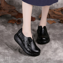 202jf秋冬新式厚uw真皮妈妈鞋民族风单鞋复古圆头坡跟女皮鞋