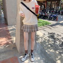 [jfuw]小个子高腰显瘦百褶奶茶格