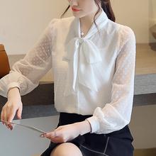雪纺衬ji女长袖20er季新式韩款蝴蝶结气质轻熟上衣职业白色衬衣