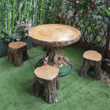 户外仿ji桩实木桌凳hu台庭院花园创意休闲桌椅公园学校桌椅