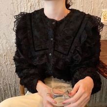 韩国ijis复古宫廷hu领单排扣木耳蕾丝花边拼接毛边微透衬衫女