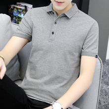 夏季短jit恤男潮牌iu织翻领POLO衫纯色灰色简约百搭上衣半袖W