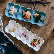 北欧风ji意日式复古un碟子三格寿司盘冷菜盘陶瓷分隔盘