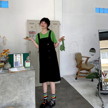 JHXji 减龄工装lb带裙女长式过膝2019春装新式学生韩款连衣裙