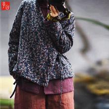 民族风碎花保暖(小)棉袄女ji80秋冬新lb式禅意斜襟系带棉衣外套