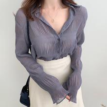 雪纺衫ji长袖202mo洋气内搭外穿衬衫褶皱时尚(小)衫碎花上衣开衫