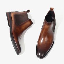 TRDji式手工鞋高un复古切尔西靴男潮真皮马丁靴方头高帮短靴