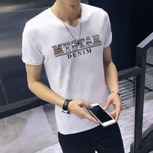 男士短jit恤v领2wu男装夏季新式韩款修身潮流男式鸡心领衣服半袖