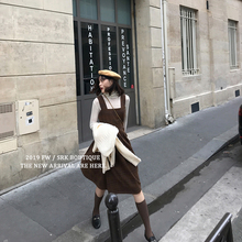 ◆SRji◆复古格子pu女秋冬中长式英伦风格纹毛呢背带连衣裙