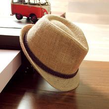 度假帽ji男春夏天韩pu百搭草帽(小)礼帽女英伦复古沙滩帽爵士帽