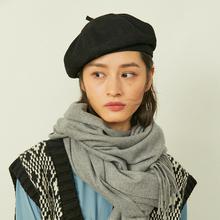 贝雷帽ji秋冬季韩款qu家帽子羊毛呢蓓蕾帽英伦复古南瓜八角帽